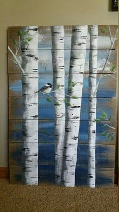 Painting On Wood Pallet White Birch Wall Decor Painting 4 Piece Set 9 Wide Total Hand Painted Dark Blue Reclaimed Wood Rustic Shabby - Painting Pallet Painting, Tole Painting, Painting On Wood, Painting Quotes, Rustic Painting, Birch Trees Painting, Wood Paintings, Arte Pallet, Old Wood