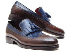 PAUL PARKMAN ® The Art of Handcrafted Men's Footwear - Paul Parkman Kiltie Tassel Loafer Dark Brown & Navy (ID#KT44BN)