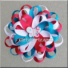 *price is for 1 hair bow    This pretty loopy butterfly flower measures about 3 1/4 across made with premium grosgrain ribbon in white, turquoise and shocking pink. A cute little butterfly with the same colors is set in the center. Attached to your choice of alligator clip or french barrette.    These colors are bold and will definitely bring out her outfit!!    *All items here at GirlyKurlz.com have been heat sealed and lined with the finest ribbon.