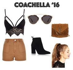"""""""Look Coachella"""" by thathaborges on Polyvore featuring Club L, River Island, Christian Dior, ASOS, Stuart Weitzman and Yves Saint Laurent"""