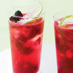 Blackberry Lime Rickeys Recipe Beverages, Cocktails with blackberries, granulated sugar, fresh lime juice, gin, ice cubes, carbonated water, lime slices