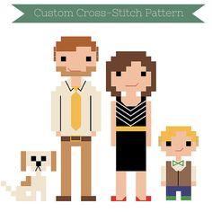 Custom PATTERN  Cross Stitch Family Portrait  by WildwoodStitchCo