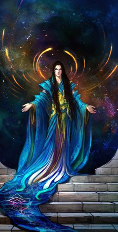 The Creator by Anndr Kusuriuri  ~ http://anndr.deviantart.com/ ♥ I like the illusion of a halo and how the robe flows down the stairs.