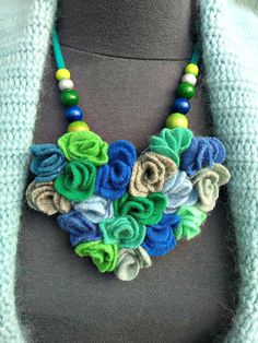 Heart shaped statement necklace from wool sweaters.