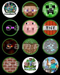 Mindcraft Set Of 12 Round Personalized Stickers Or Cupcake Toppers
