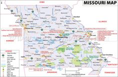 Missouri map showing the major travel attractions including cities, points of interest, and more.