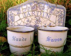 French blue and white enamelware pair vintage Savon by Parispatina, $42.00