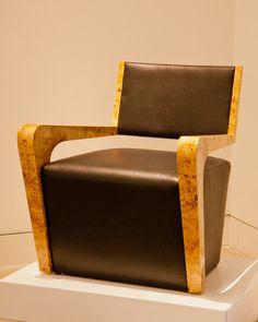 "Mark Hawley Metropolis Chairs, 2016 Mappa burl veneer on laminated birch core, black leather upholstery  32"" x 29"" x 27.5""  $3,000 each"