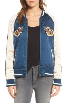 Pam & Gela Embroidered Satin Bomber Jacket available at #Nordstrom
