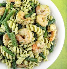 Shrimp, Green Beans and Pasta with Pesto