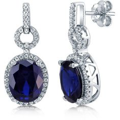 BERRICLE Silver Oval Simulated Sapphire Cubic Zirconia CZ Halo Dangle... ($48) ❤ liked on Polyvore featuring jewelry, earrings, dangle earrings, women's accessories, fake earrings, earring jewelry, cz dangle earrings and silver dangle earrings