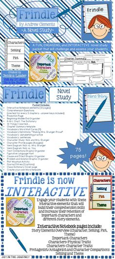 Newly updated!!! My novel study for the book Frindle by Andrew Clements is now 75-pages, chocked-full of interactive notebook foldables, reading comprehension questions, engaging graphic organizers, and creative writing prompts that will enrich your study of this classic book! $6