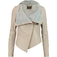 Muubaa Sabina draped leather jacket (7 795 UAH) ❤ liked on Polyvore featuring outerwear, jackets, beige, zipper jacket, beige leather jacket, real leather jackets, slim fit jacket and draped leather jacket