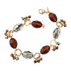 "Bedazzle them with this sparkling goldtone bracelet with faceted beads. 7 1/4"" L with 1"" extender."