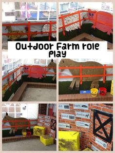 Outdoor role play area themed as a farm.something we could do to use up the straw! Dramatic Play Themes, Dramatic Play Area, Dramatic Play Centers, Nursery Activities, Farm Activities, Play Based Learning, Learning Through Play, Outdoor Learning, Outdoor Play