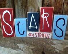 Stars and Stripes of JULY, PATRIOTIC, AMERICAN holiday stacking wood home decor seasonal blocks - with vinyl lettering - Wood Letters 2x4 Crafts, Wood Block Crafts, July Crafts, Summer Crafts, Holiday Crafts, Crafts To Make, Wood Blocks, Jenga Blocks, Burlap Crafts