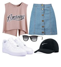 """""""Feel So Awesome"""" by marsophie ❤ liked on Polyvore featuring NIKE, Ray-Ban and Boohoo"""