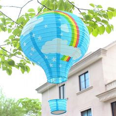 5 pcs/lot 12 Inch 30cm Pink Blue Rainbow Star Hot Air Balloon Decorative Chinese Paper Lantern For Party and Wedding Decoration