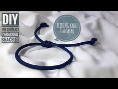 Slip Knot Bracelets, Diy Bracelets Easy, Bracelet Knots, Bracelet Crafts, Paracord Bracelets, Simple Tie Knot, Jewelry Knots, Sliding Knot, Adjustable Bracelet
