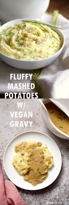 Fluffy Vegan Mashed Potatoes with Vegan Gravy - 1 Pot Gravy - Mushroom Free. Can be Nut-free, soy-free. Serve over mashed potatoes, biscuits, thanksgiving loaf and more. #Vegan #Recipe #veganricha | VeganRicha.com