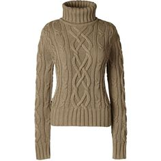 Lands' End Women's Cable Turtleneck Sweater - Drifter ($99) ❤ liked on Polyvore featuring tops, sweaters, brown, lands end sweaters, turtle neck sweater, long sweaters, brown turtleneck sweater and cable knit sweater