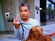 The only pic I've ever seen of Cesar Milan with a Vizsla AND he's giving the finger!!