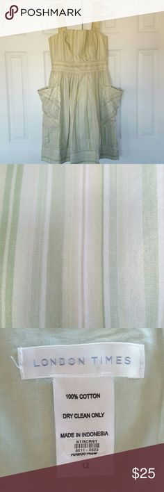 Beautiful London Times Summer Dress Only worn once for a wedding. Gorgeous shimmer and nice light weight, comfortable material. See close up picture for colors in the dress. The dress is further accented by pockets on the sides. Colora in the dress are multiple shades of green, gold and white. Excellent used condition. London Times Dresses