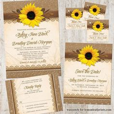Rustic sunflower, burlap, and lace wedding invitation stationery set available on @lemonleafprints