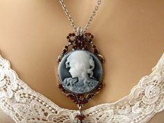 Slate Blue Cameo: Victorian Woman Blue Cameo Necklace, Vintage Inspired Victorian Cameo Necklace, Victorian Jewelry on Etsy, $26.00