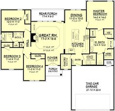 Country Style House Plan - 4 Beds 2 Baths 1798 Sq/Ft Plan #430-93 Floor Plan - Main Floor Plan - Houseplans.com