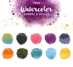 This lovely free set contains 33 PNG Clip Art shapes with Photoshop Brushes to match.  Additionally, there are 10 Watercolor Styles you can apply on each shape with a click. Additionally you can move the pattern around from within the photoshop FX panel.
