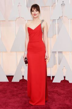 Dakota Johnson Wearing a Red Saint Laurent Gown With a Side Slit at the 2015 Oscars