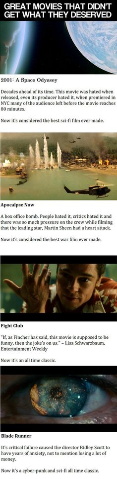 Great movies that deserved more. all that shit they couldn't understand the first time