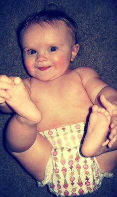 Modeling her Honest Company diaper :)