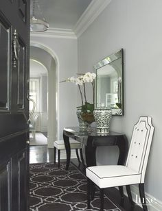 Old Hollywood Glamour Entry with Silver and Black Accent Aesthetic