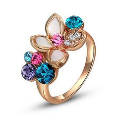 Roxi Exquisite Rose-Golden Colorful Flower Statement Rings(1 Pc) – USD $ 4.99