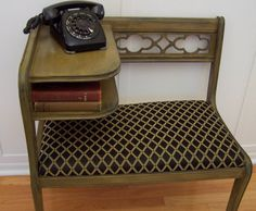 Gossip Bench Refinished in Earthy Moss with Dark Undertones Telephone Table Retro Furniture, Upcycled Furniture, Gossip Bench, The Undertones, Telephone Table, Bed Bench, Trunks And Chests, Dark Wax, Ol Days