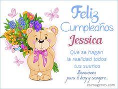 Feliz cumpleaños Jessica Gaston, Happy Birthday Wishes, Winnie The Pooh, Princess Peach, Minnie Mouse, Lily, Teddy Bear, Cards, Fictional Characters