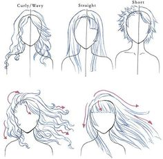Drawing different hair types
