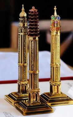 Ink: S.T. Dupont and Philippe Tournaire: Architectural Masterpieces ~ 3-#Pen Set: Paris, China, Moscow.