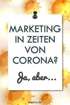 Marketingmaßnahmen in Krisenzeiten wie diesen - macht das Sinn? Diese Frage stellen sich nicht nur Konzerne und Mittelständler, sondern auch kleine Unternehmen und Selbstständige, von denen viele ganz besonders unter der Corona Krise leiden und sich teilweise in ihrer Existenz bedroht sehen. Wir klären auf und geben ganz konkrete Tipps, wie du deine Marketingkampagnen während Covid-19 jetzt am besten gestaltest und worauf du dabei unbedingt achten solltest. #krisenmarketing #coronakrise #corona Marketing Management, Performance Marketing, Salon Business, Leiden, Online Marketing, Corona, Small Businesses, Things To Do, Tips