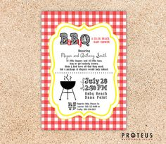 BabyQ Shower Invite, Baby Shower & BBQ, Custom Digital Invitation