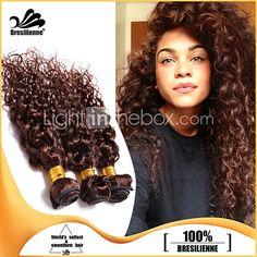 3pcs Brazilian Hair Bundles Weaves Chocolate Brown Deep Curl Hair Weft 100% Unprocessed Brazilian Human Hair Weft - GBP £35.74