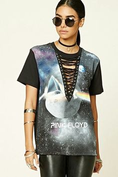 Lace up pink floyd band tee