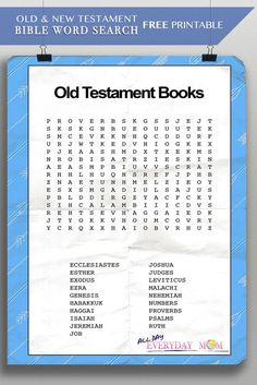 Old and New Testament Word Search Test you families knowledge of the books of the bible with this fun worksheet. Make it a competition on your next family game night!