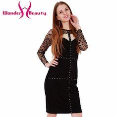Wonder beauty lace sleeve peplum dress O neck sexy lace dress plus size elegant wear work bodycon dress hot Women midi dress #Affiliate