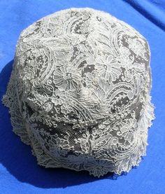 Rare Antique Child Bonnet HM Brussels Point de Gaze Needle Lace