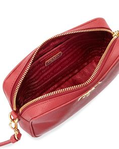 Prada Small Saffiano Camera Crossbody Bag, Red (Fuoco)