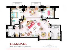 Famous television show home floor plans - H.I.M.Y.M Ted's former apartment. También T.B.B.T y Friends