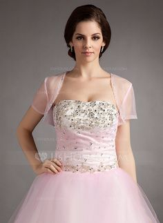 Wraps - $29.99 - Short Sleeve Tulle Special Occasion Wrap (013016352) http://jjshouse.com/Short-Sleeve-Tulle-Special-Occasion-Wrap-013016352-g16352